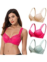 Curve Muse Plus Size Minimizer Underwire Bra with Lace Stripe Embroidery-2Pack