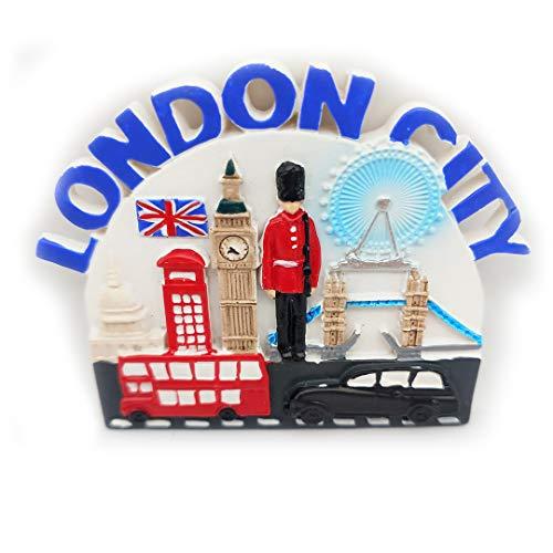 London Magnet Souvenirs United Kingdom Eye of London Big Ben Red Telephone Booth Soldier Tower Bridge Bus 3D Refrigerator Fridge Magnets Souvenir Sticker Kitchen Resin -