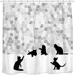Sunlit Cortina de Ducha con diseño de Gato Negro y Mosaico Gris de Design. Gris y Blanco