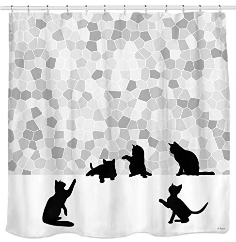 Sunlit Design Black Cat Silhouette and Gray Mosaic Fabric Shower Curtain. Grey and White