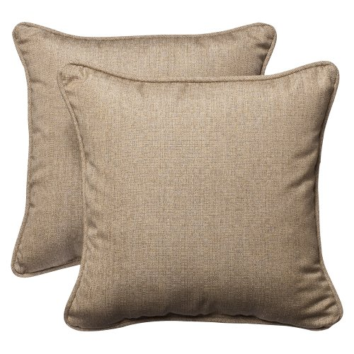 (Pillow Perfect Indoor/Outdoor 18.5-inch Throw Pillow (Set of 2) with Sunbrella Linen Sesame Fabric, 18.5 in. L X 18.5 in. W X 5 in. D)