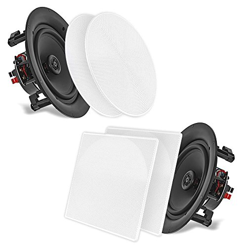 "10"" Ceiling Wall Mount Speakers - Pair of 2-Way Full Range Sound Stereo Speaker Audio System Flush Design w/Electronic Crossover Network 35Hz-20kHz Frequency Response & 250 Watts Peak - Pyle PDIC106 ()"