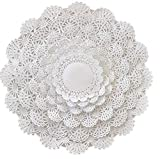 Round paper Lace Table Doilies – 4, 5, 6, 8, 10 and 12 inch Assorted Sizes; White Decorative Tableware papers Placemats, (Variety pack of 120 – 20 of each)