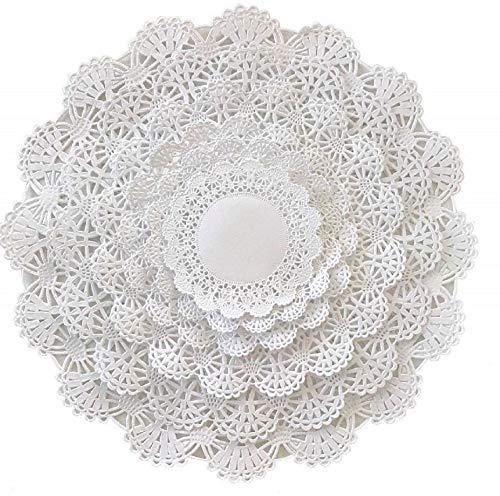 The Baker Celebrations Round paper Lace Table Doilies - 4 5 6 8 10 and 12 inch Assorted Sizes White Decorative Tableware Placemats (Variety pack of 120 - 20 of each)