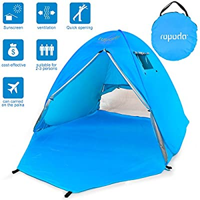 Beach Tent, Portable Pop up Sun Shelter-Automatic Instant Family UV 2-3 Person Canopy Tent for Camping ,Fishing ,Hiking ,Picnicing-Outdoor Ultralight Canopy Cabana Tents with Carry Bag
