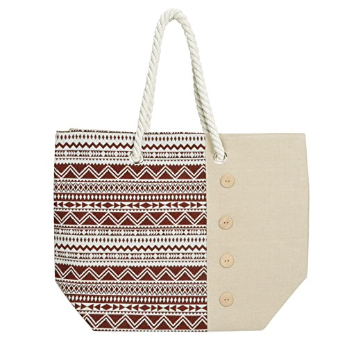 Ladies Tote Holiday Beach Shopping Red Aztec Handbag Bag Canvas Shoulder rAwqSnpxrB
