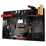Wall Control Pegboard Standard Tool Storage Kit, Black/Red