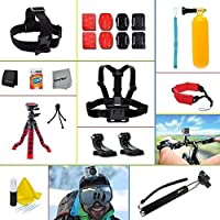 Xtech 26 Piece Accessory Kit for GoPro HERO4 Hero 4, GoPro Hero3+ Hero 3+, GoPro Hero3 Hero 3, GoPro Hero2 Hero 2, GoPro Surf Hero, GoPro Hero Naked, GoPro Hero 960 Digital Cameras Incldes: Adjustable Head Strap Mount+ Chest Strap Mount + Extendable Handle Monopod + Sealed Floating Bobber Handle + 12