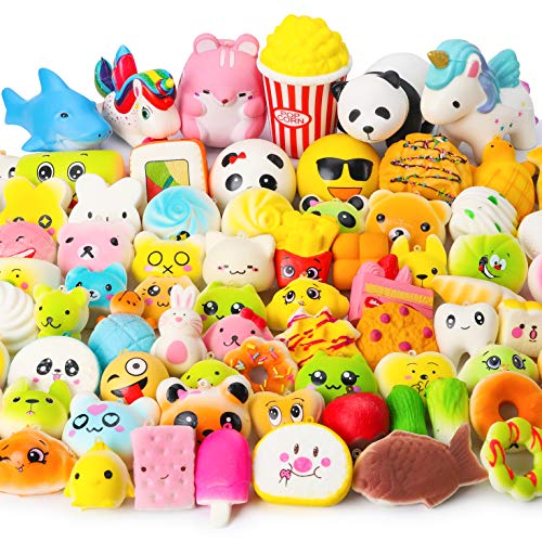 WATINC Random 70 Pcs Squishies, Birthday Gifts for Kids Party Favors, Slow Rising Simulation Bread Squishies Stress Relief Toys Goodie Bags Egg Filler, Keychain Phone Straps, 1 Jumbo Squishies include (Adhd Best Foods To Eat)