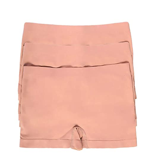 162e6f68e08a 3 Pack Stretchy Seamless Boyshorts Panties for Women in Various Sassy  Styles (AllBeige-3pk
