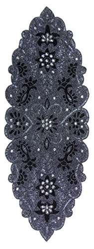 Cotton Craft – Trevi Grey Platinum Hand Beaded Table Runner – 13×36 Inches Oblong – Truly one of a kind – Hand made by skilled artisans – A beautiful …