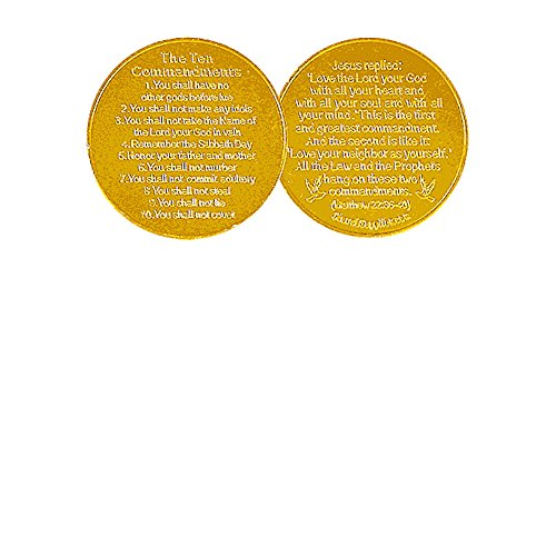 (50 Ten Commandments Christian Coin Tokens Gold Metal - Pack of 50)