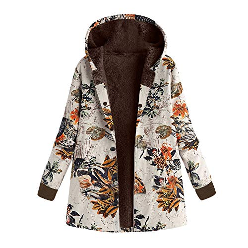 Coat,AIMTOPPY Women's Cotton Zipper Hooded Thick Composite Plush Retro Print Large Size Hooded Jacket