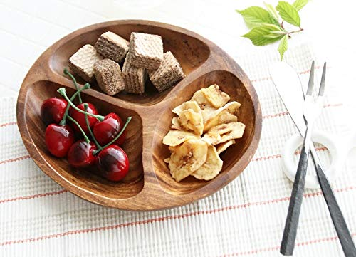 Premium Acacia Wooden Oval Ellipse Shaped 3-Compartment Divided Round Wood Plate Divided Dessert Dish Chip and Dip,Serving Trays Platters 3 - Chip Wood Acacia