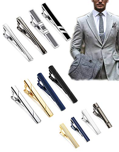 LOYALLOOK 12Pcs Stainless Steel Tie Clips Set for Men Tie Clips Bar Pin Variety Set for Regular Ties Necktie Wedding Business as Mens Gifts
