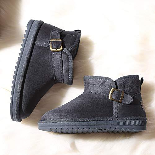 Boot Bleu Doublure Femme Bottes De Boucle Hiver Neige Chaussures Courtes Plates Suede H Fourrure 3 Chaude mastery nqOwggYxZ