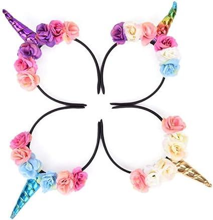 Unicorn Headband Ladies Fancy Dress Accessory Pretty Unicorn Horn /& Flowers