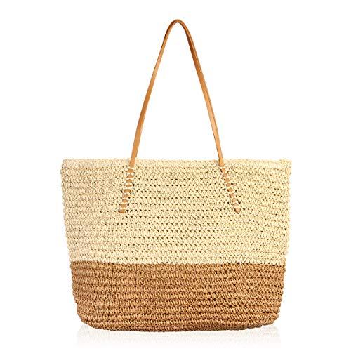 RIAH FASHION Boho Rattan Crochet Straw Woven Basket Bali Handbag - Round Circle Crossbody/Shopper Beach Tote Bag (Colorblock Beach Tote - Light Khaki)