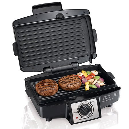 (Hamilton Beach 040094253326 25332 Electric Indoor Grill with Non Stick Removable Plates, 110