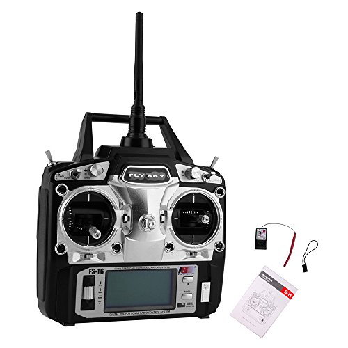 RCmall Flysky FS-T6 High Precision 2.4G 6 Channel 6ch Radio Controller Transmitter and Receiver Kit for RC Helicopter Racing Drone ()