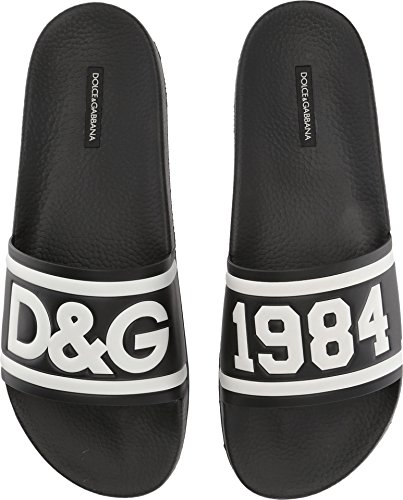 Dolce & Gabbana Hombres Pool Slide Sandal Black / White