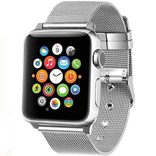 Buckle Gold Mesh (AGUARA Compatible Apple Watch Band 38mm 42mm, Mesh Loop Stainless Steel Strap with Classic Buckle Replacement iWatch Band for Apple Watch Series 3 Series 2 Series 1 Sport and Edition)