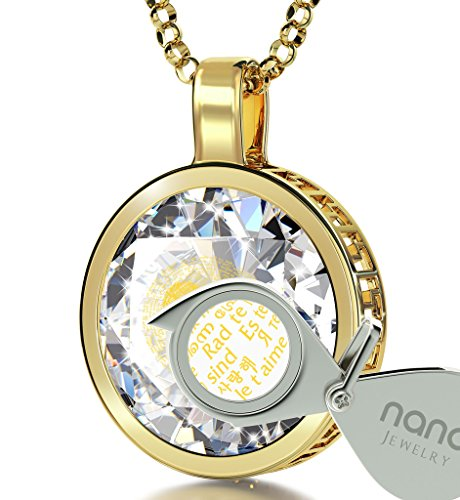 Half Round Rolo - Gold Plated I Love You Necklace 24k Gold Inscribed in 120 Languages on Clear Cubic Zirconia Pendant, 18