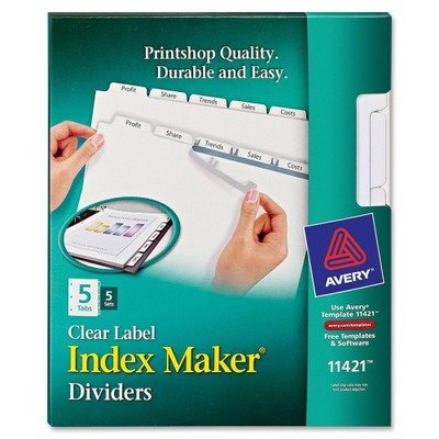 Label Dividers, Punched, Reinforced Edge, 5-Tab, (Avery Reinforced Labels)