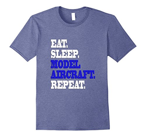 Mens Eat Sleep Model Aircraft Replica Scale Repeat Life T Shirt 2XL Heather Blue
