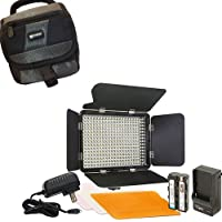 Canon XA35 Camcorder Lighting Vidpro Ultra-Slim LED-330 Professional Video and Photo LED Light Kit- With SDC-27 Case