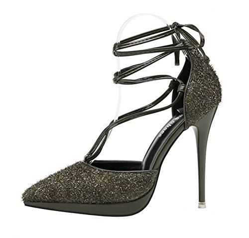 Heel Paillettes Tip Tacchi Donna 34 Singole Da 38 Alti Verde Sexy Fashion Scarpe Lace Nvxie Bow Nightclub f6gb7y