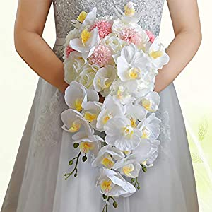 Artificial Flowers Bouquet Bridesmaid Wedding Phalaenopsis Bouquet Bridal Hands Tied Flowers Wedding Supplies 52