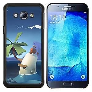 LECELL--Funda protectora / Cubierta / Piel For Samsung Galaxy A8 A8000 -- poli lindo arte palma cielo tropical niños pc --