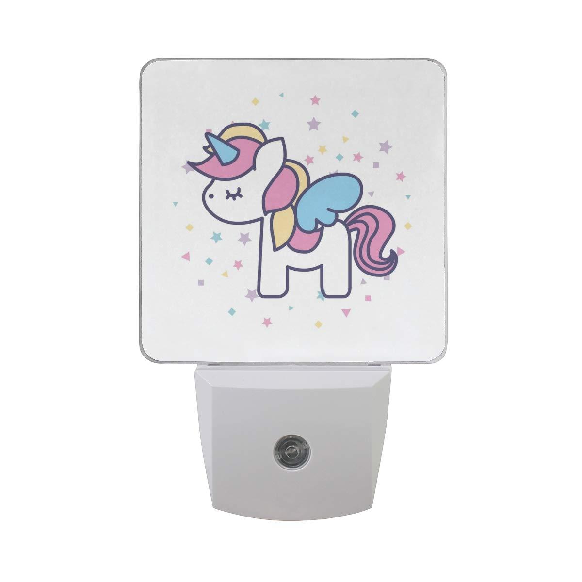 Suabo plug in led night light lamp dusk to dawn light sensor for bedroom hallway wall light with drawing unicorn design 0 5w 2 pack amazon com