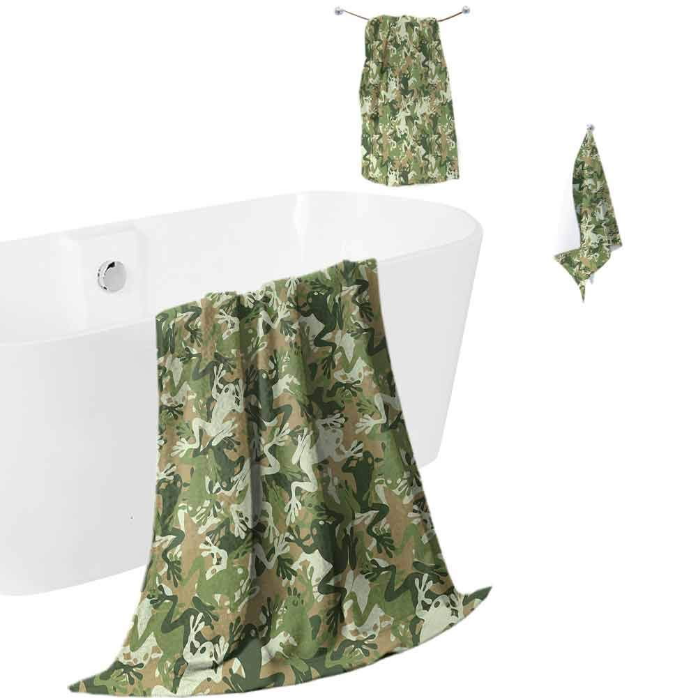 Animal Cotton Three-Piece Towel Skull Camouflage Military Design with Various Frog Pattern Different Tones Art,Soft and Thick Towel-Machine washableSage Pine Green
