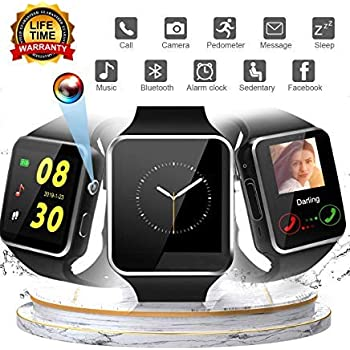 Smartwatch for Android, Bluetooth Smartwatch Touch Screen Sport Wrist Watch Smartwatch Phone Fitness Tracker with Camera Pedometer SIM TF Card Slot ...