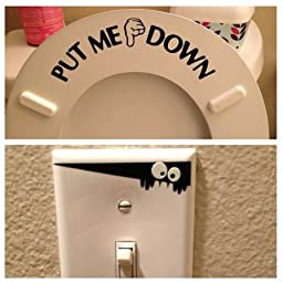 PUT ME DOWN Decal Toilet Bathroom Seat Vinyl Sticker Sign Reminder for Him (Come with glowindark Monster switchplate decal) Stickerciti Brand