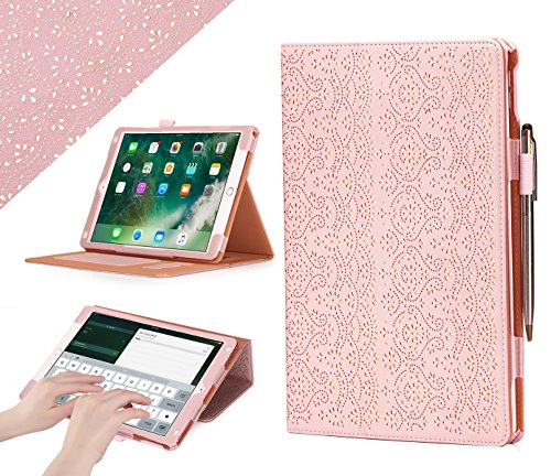 iPad Pro 10.5 Case, WWW [Luxury Laser Flower] Premium PU Leather Case Protective Cover with Auto Wake/Sleep Feature for iPad Pro 10.5 Pink (Wake Flowers)