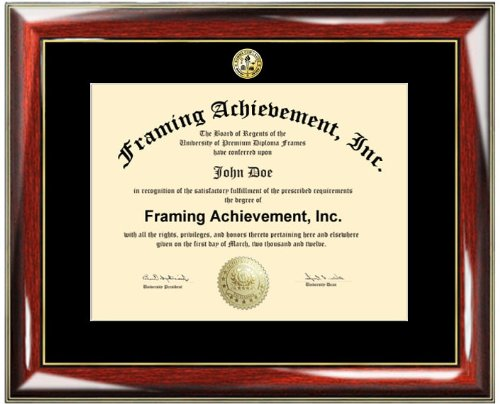 Certificate Frame - Premium Glossy Prestige with Gold Accents University Diploma Frame - Choice of College Major Gold Seal Insignia - Single Black Mat - College Degree Frame