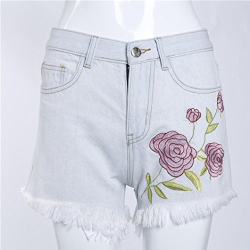 Gillberry Women Applique Hole Shorts Sexy Ripped Jeans Denim Shorts Worn Loose Shorts Pant (S, White)