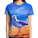 Women Walking Seagull Graphic Print Tshirts Colored Patterned Tee For Ourdoor