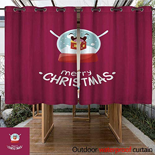 RenteriaDecor Outdoor Curtains for Patio Waterproof Glass Snow Globe Vector Cheerful Christmas Card W108 x L72 ()