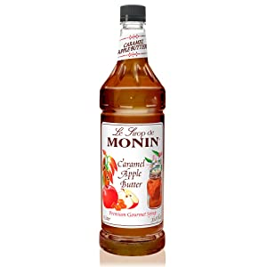 Monin - Caramel Apple Butter Syrup, Buttery Caramel and Cooked Apple Flavor, Natural Flavors, Great for Hot Lattes, Ciders, and Seasonal Cocktails, Vegan, Non-GMO, Gluten-Free (1 Liter)