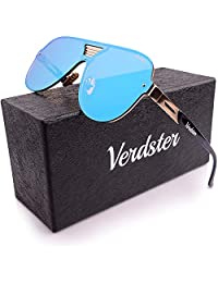 Verdster Kids Trendy Mirrored Oversized Sunglasses For Boys & Girls - Cool Children's Shades For Toddlers - Blue/Gold