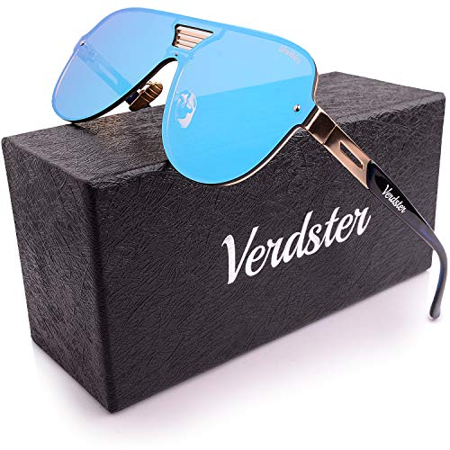 Verdster XL Oversized Mirrored Men's Sunglasses - Flat Frame - Blue
