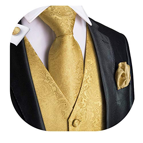 Dubulle Gold Mens Vest Paisely Waistcoat Men's Suit Dress Vest for Men or Tuxedo Vest