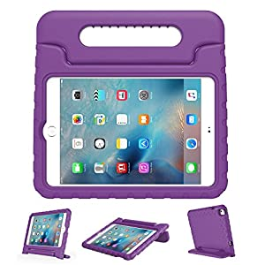 LEFON Kids iPad Mini 4 Case ShockProof Convertible Handle Light Weight Super Protective Stand Cover Case for Apple iPad Mini 4 Tablet 2015 Released (Purple)