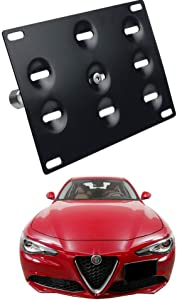 DEWHEL Front Bumper Tow Hook License Plate Mount Bracket Holder Bolt On for 2017-up Alfa Romeo Giulia