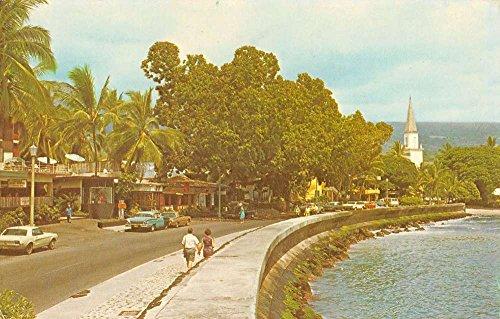 Kona Hawaii Alii Drive Street Scene Waterfront Vintage Postcard - Drive Alii
