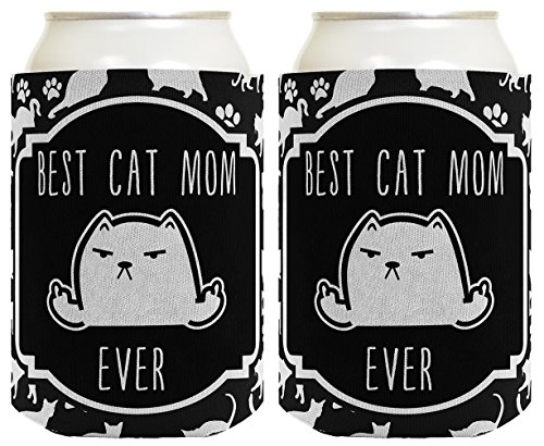 Grumpy Cat Meme Costume (Funny Cat Gifts Best Cat Mom Ever Rude Cat Lover Gifts Cat Memes Cat Middle Finger Cat Flipping Off Crazy Cat Lady Cat Gag Gifts 2 Pack Can Coolie Drink Coolers Coolies Black)